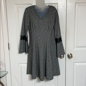 Black Marbled Bell Sleeve Dress